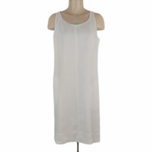 J. Jill Sleeveless Shift Dress White Linen Lined Scoop Neck Relaxed Fit Sz S