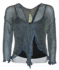 LADIES CROP SHRUG / BOLERO TOP  LIGHT WEIGHT KNIT -GOLD OR SILVER SPARKLE TOUCH