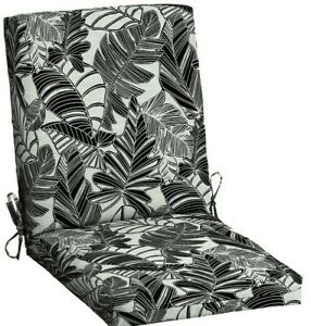 Outdoor Dining Chair Cushion ~ Woodcut Tropical Black & White 20 x 43 x 3.5 NEW
