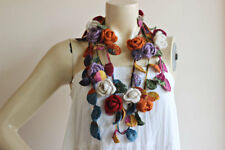 Multicolor Crochet Necklace-Rose Lariat Scarf-Autumn Scarf with Gold Glitter