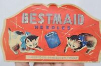 Vintage Paper Needle Case Bestmaid with Kittens and Thread Spool