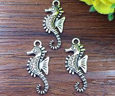 6pcs sea horse Tibetan Silver Bead charms Pendants DIY jewelry 28x12mm #HJ-37