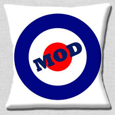 "NEW VINTAGE RETRO 60'S MOD LOGO BLUE RED ON WHITE 16"" Pillow Cushion Cover"