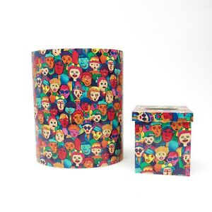 Vtg Abstract Pantone Bold Fun Colorful Faces Pattern Wastebasket & Tissue Cover