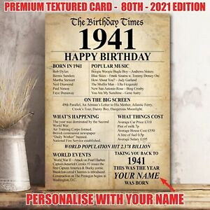 80th 1941 Personalised Birthday Present Gift Poster Print Back In Milestone 36