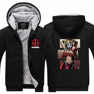 Deadpool Harley Quinn Winter Hoodie Sweatshirt Zipper Fleece Warm Coat Jacket