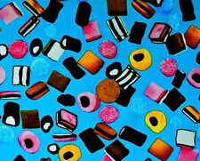 TURQUOISE WITH A DESIGN OF LIQUORICE SWEETS - 100% COTTON FABRIC FQ