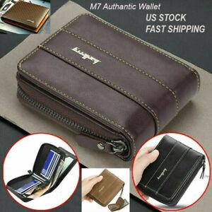 Men Men's S1 Leather Wallet ID Credit Card Holder Clutch Bifold Zipper Coin