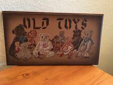 """""""OLD TOYS"""" Plaque With TEDDY BEARS Wood Sign Wall Decor Country Vintage Theme"""