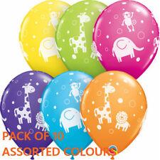PARTY BIRTHDAY DECORATIONS CUTE & CUDDLY JUNGLE ANIMALS BALLOONS SAFARI 10PK