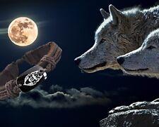 NEU WOLF - Armband der Stärke - Handgeknüpftes Lederarmband mit Wolf-Motiv