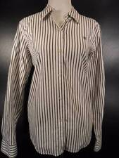 Beautiful Women's Large Ralph Lauren Chaps Brown White Striped LS Button Blouse