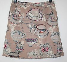 *WHITE STUFF* PRETTY TEA CUP PATTERN LINEN & COTTON LINED SKIRT SIZE 12/14