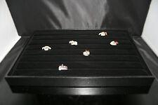 Grande Negro Terciopelo Anillo Joyería Caja De Presentación / bandeja de escaparate de hasta 100 un. 1st