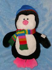 "Okie Dokie Plush Penguin Wearing Blue Hat Scarf Stuffed Animal Soft Toy 12"""