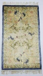 Antique Handmade Chinese Crane Birds Art Deco Wool Oriental Rug Carpet 117x69 cm
