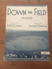 DOWN THE FIELD MARCH 1911 COLLEGE FOOTBALL sheet music YALE VS. HARVARD w/ photo
