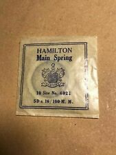 Hamilton 10s Pocket Watch Mainspring 6021 White Alloy Unbreakable Rust Proof M3
