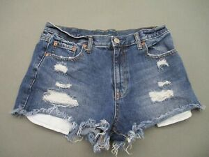 Aéropostale Size 8 Womens Blue Distressed High Rise Cheeky Denim Shorts T427