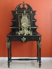 Antique French Napoleon III Ebonized and Gilt Bronze writing desk cabinet c 1840
