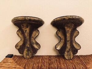 Maitland-Smith stone and tweed Wall sconces made in The Philippines