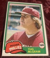 Tug McGraw 1981 Topps Baseball Card # 40, Philadelphia Phillies