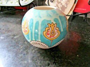 "NEW Anthropologie Vase Round Green Blue Flowers Ceramic  5"" w x 5"" SWEET"