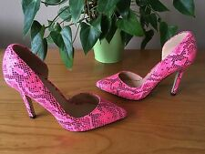 Dune Head over Heels fluorescent pink textured court shoes UK 3 EU 36 New