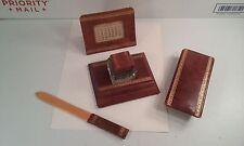 Vintage Desk Set Leather Covered Inkwell/Stamp Roller/Letter Opener/Calendar