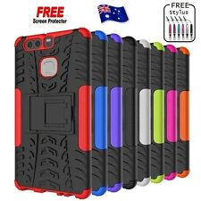 Heavy Duty Tough Kickstand Strong Case Cover For Huawei P9 + FREE Protector