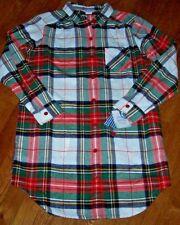 NWT Sleep Sense Portuguese Flannel White Red Plaid Pajama Sleep Shirt S  POCKETS e5f100a9d