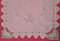 """VINTAGE FLORAL ART CUT EMBROIDERY OFF WHITE PINK GREEN TABLE RUNNER SIZE:18""""x36"""""""