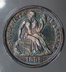 1868 ANACS XF 40 Liberty Seated Dime, 10C, 1800's Dime, LS Dime, Lib Dime