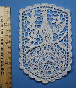 TRIMPLACE Venice Lace Applique - 100% Cotton Vintage - White - 6 Pieces