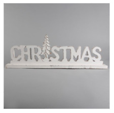 More details for rustic white christmas letter standing decoration distressed shabby chic vintage