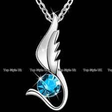Aqua Crystal Angel Wing Necklace Niece Daughter Sister Woman Gifts for Her J264
