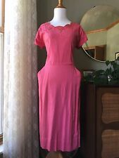 50s Toni Todd Dress Pink Wiggle Schiffli Lace Trim 1950s Vintage Linen Cocktail