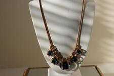 Fashion Women Crystal Pendant Chain Choker Chunky Statement Bib Blue Necklace