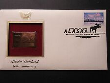 Alaska Statehood 50th Anniversary Moose 22kt Gold GOLDEN Cover Replica Stamp