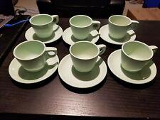 6 Boonton Melmac Melamine Mint Green Coffee Tea Cups 201-8 w/ Saucers 202-8