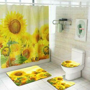 3D Sunflower Toilet Lid Cover Bathroom Rugs Mat Set Shower Curtain Floor Mat