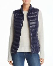 New $180 Aqua Women'S Blue Zip-Up Sleeveless Casual Puffer Jacket Vest Size Xs