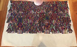 Vintage Large Guatemalan Huipil Traditional Design Fabric Handwoven Circa 1970's