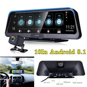 Android 8.1 10In FHD Car Dual Lens Dash Camera Driving Recorder GPS Navigation