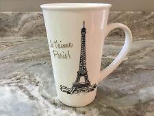 Je t'aime Paris. Large Coffee Mug. With Eiffel Tower. 16 oz. White, Black. New.
