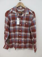 RM Williams Mens Camp Shirt Size S Long Sleeve Regular Fit Red Plaid New