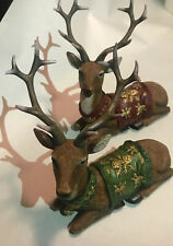 Regal Sitting Reindeer Set Of 2, Resin With Holiday Ornament Hanging From Neck