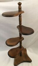 """Vintage Wood PLANT STAND 4 Tiered Paddle Pedestal Display Shelf Spindle 30"""" Tall"""