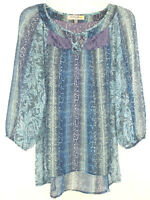 Figueroa & Flower Boho Tunic Top Blouse Peasant Blue Semi-Sheer Lace Sz M