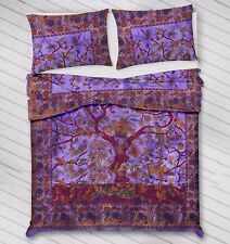 Purple Tree Of Life Duvet Doona Cover Nature Birds Tie-Dye Warm Comforter Boho